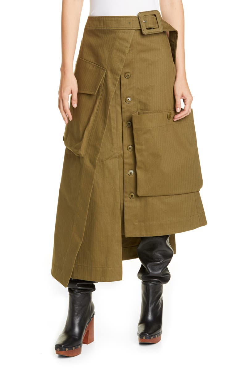 JACQUEMUS La Jupe Thika Asymmetrical Belted Skirt, Main, color, KAKI