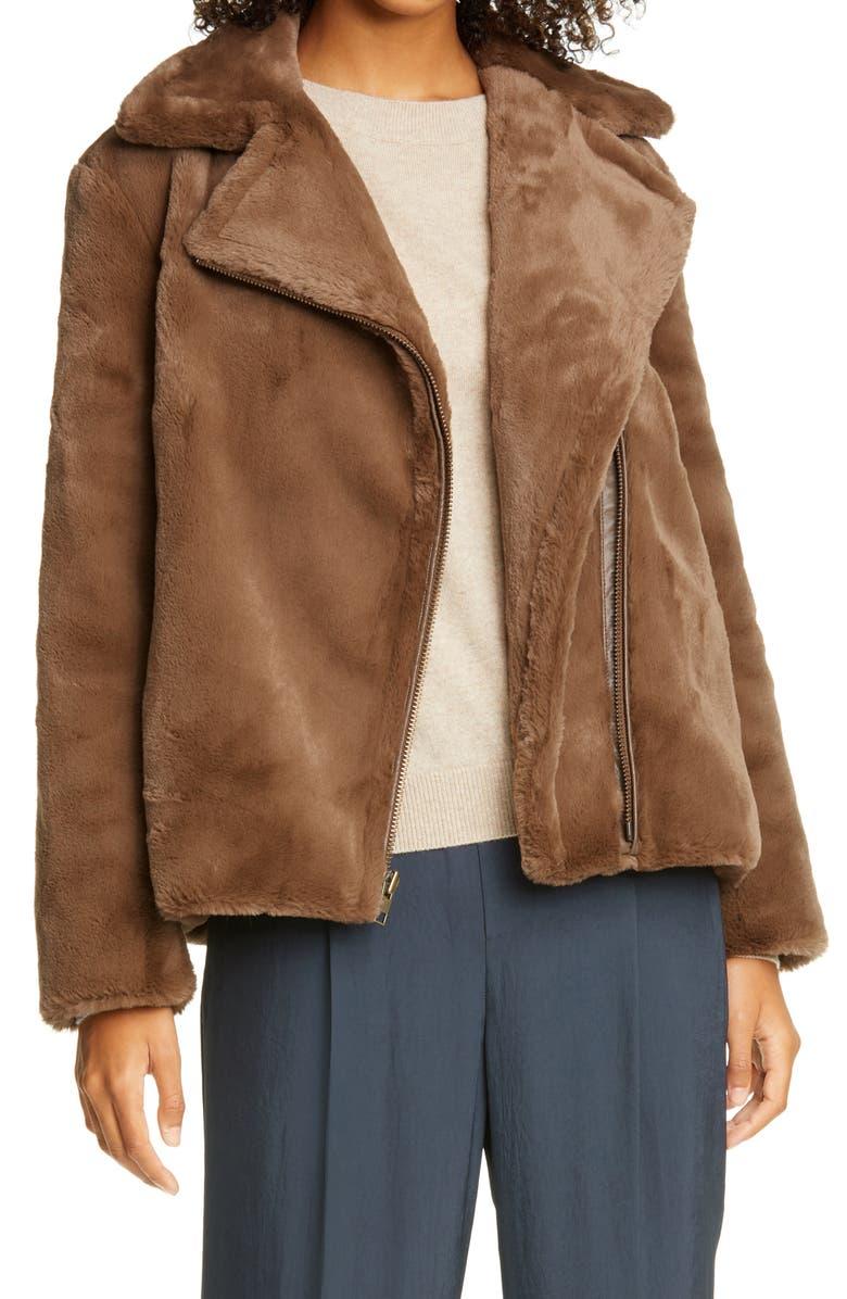 VINCE Faux Fur Moto Jacket, Main, color, MACCHIATO