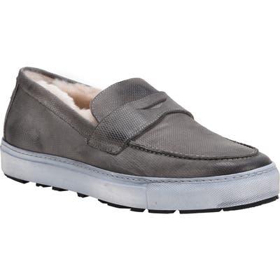 Ross & Snow Matteo Genuine Shearling Loafer Sneaker, Grey