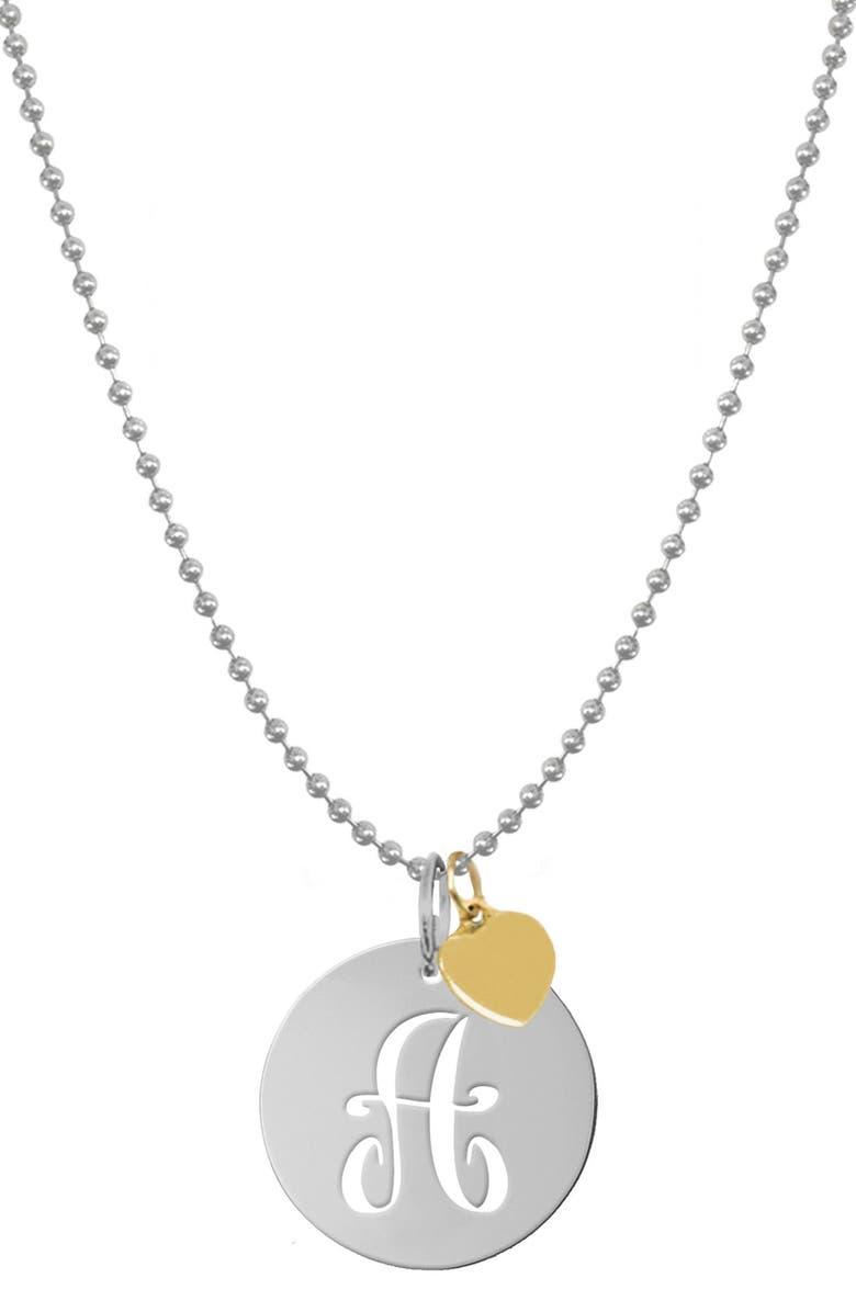 JANE BASCH DESIGNS Personalized Script Initial Disc Pendant Necklace, Main, color, SILVER - A