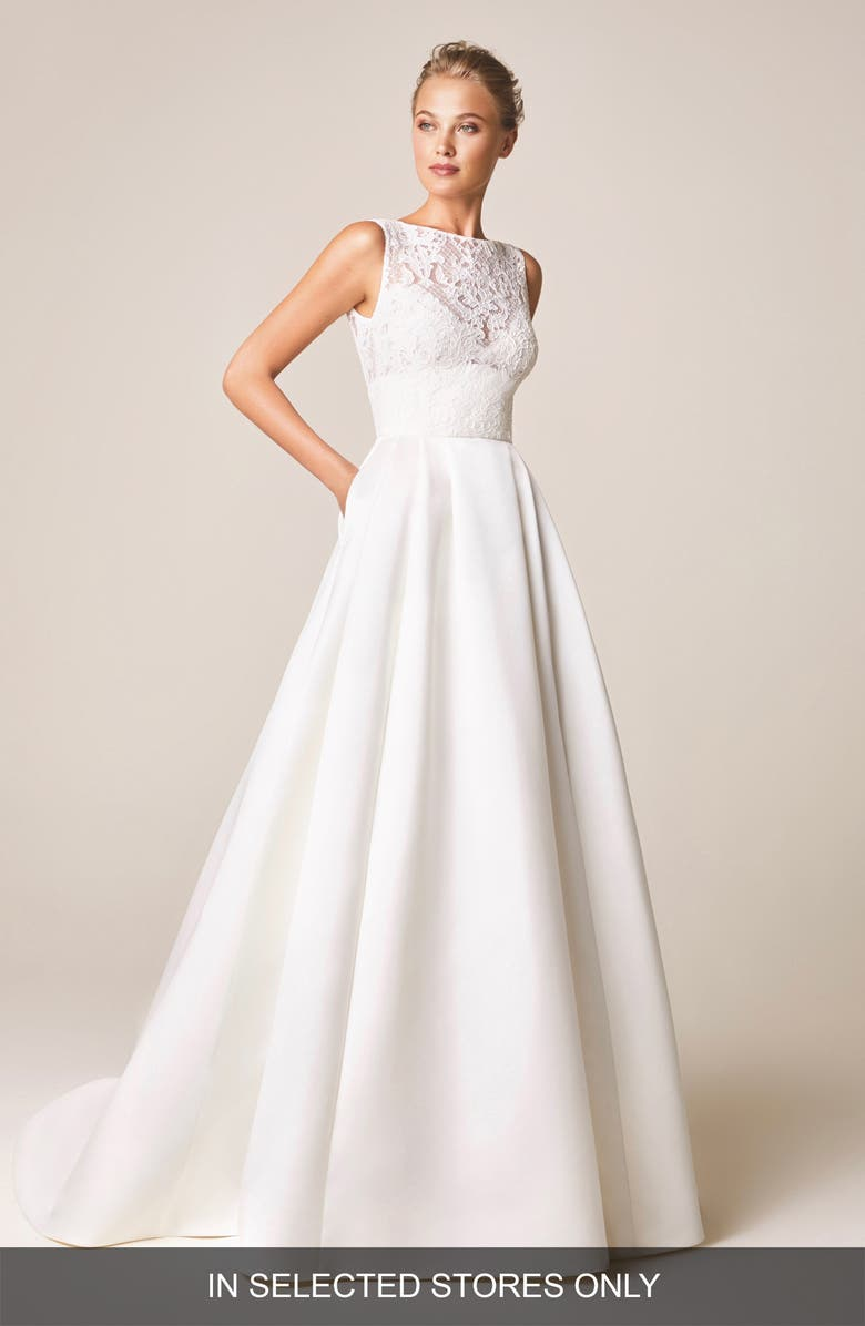 JESÚS PEIRÓ Ancora Lace Open Back Wedding Dress, Main, color, OFF WHITE