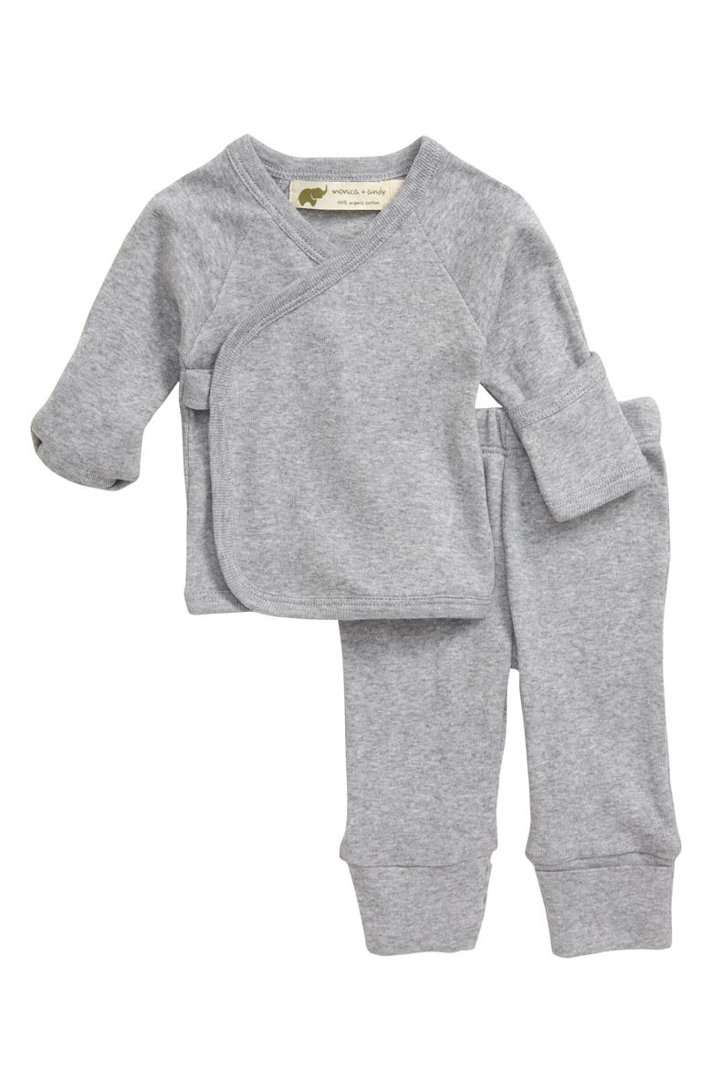 MONICA + ANDY Hello Baby Organic Cotton Wrap Top & Leggings Set, Main, color, HEATHER GREY