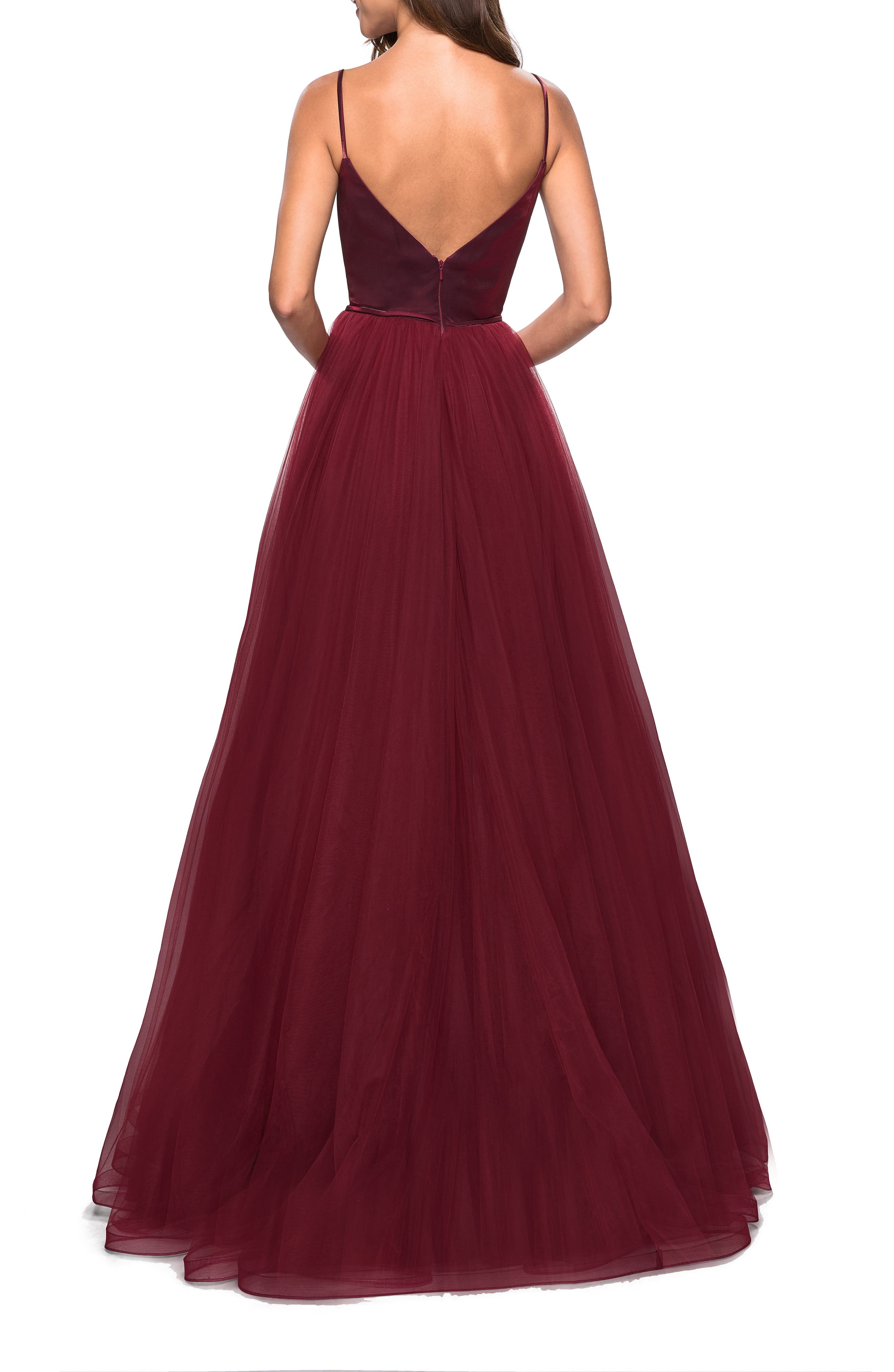 ,                             Velvet & Tulle Evening Dress,                             Alternate thumbnail 2, color,                             BURGUNDY