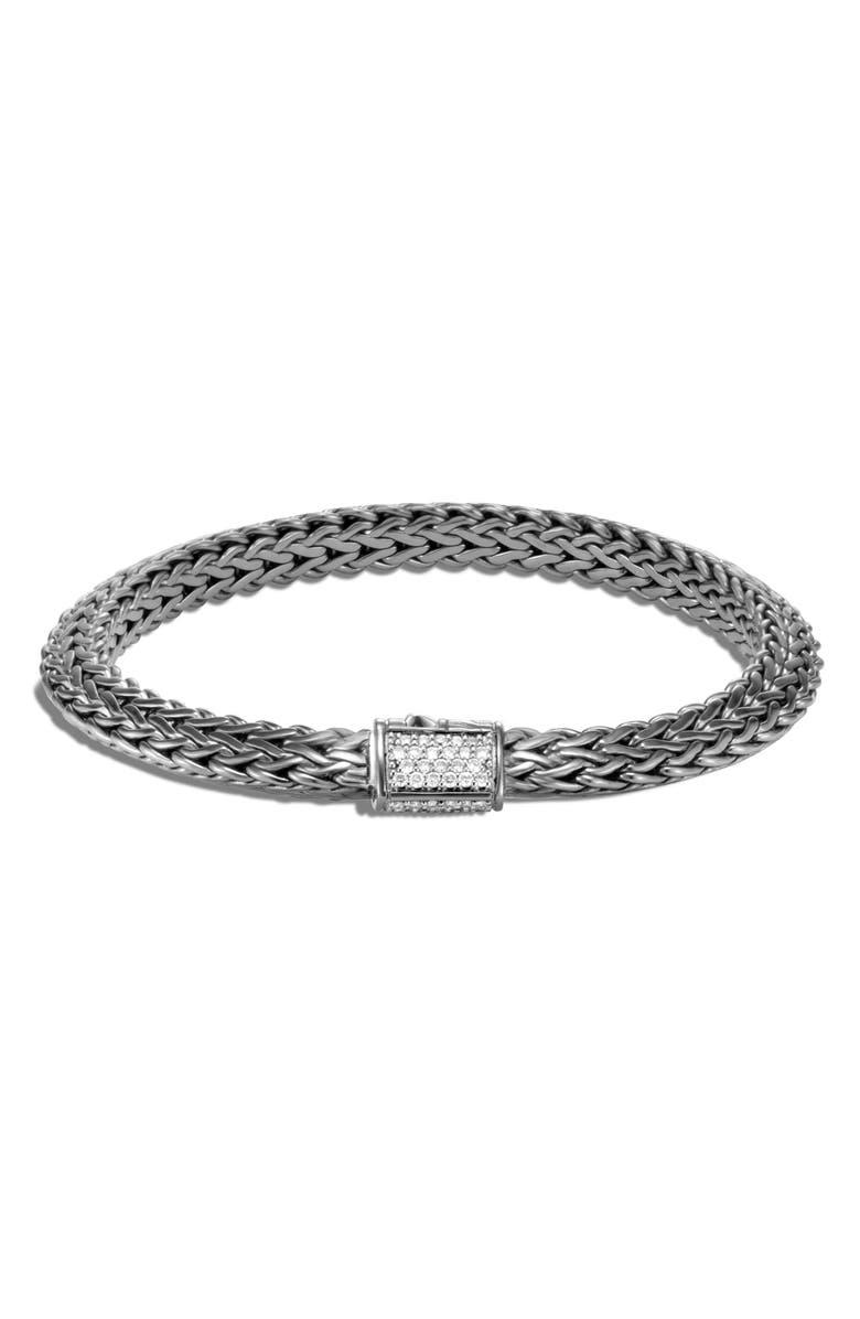 JOHN HARDY Tiga Chain 6.4mm Black Rhodium Diamond Pavé Bracelet, Main, color, BLACK RHODIUM/ DIAMOND