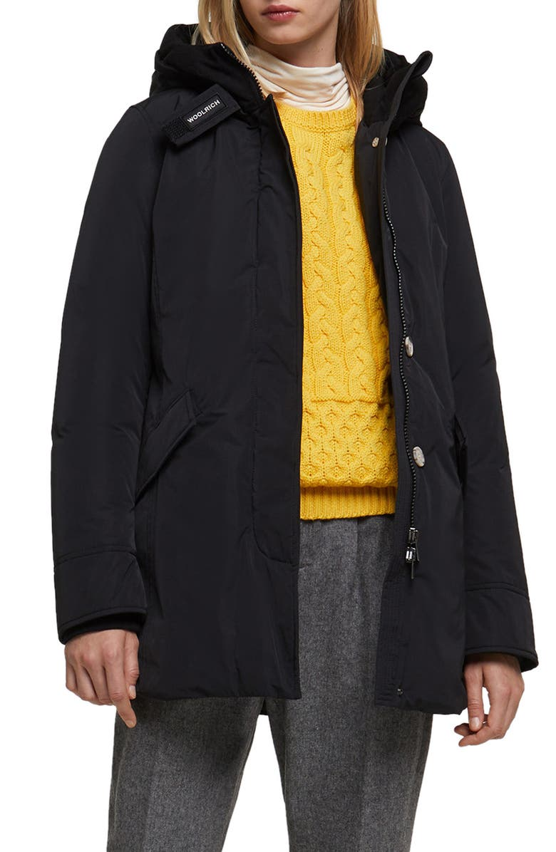 WOOLRICH Luxury Arctic Hooded Water Repellent Down Parka, Main, color, 001