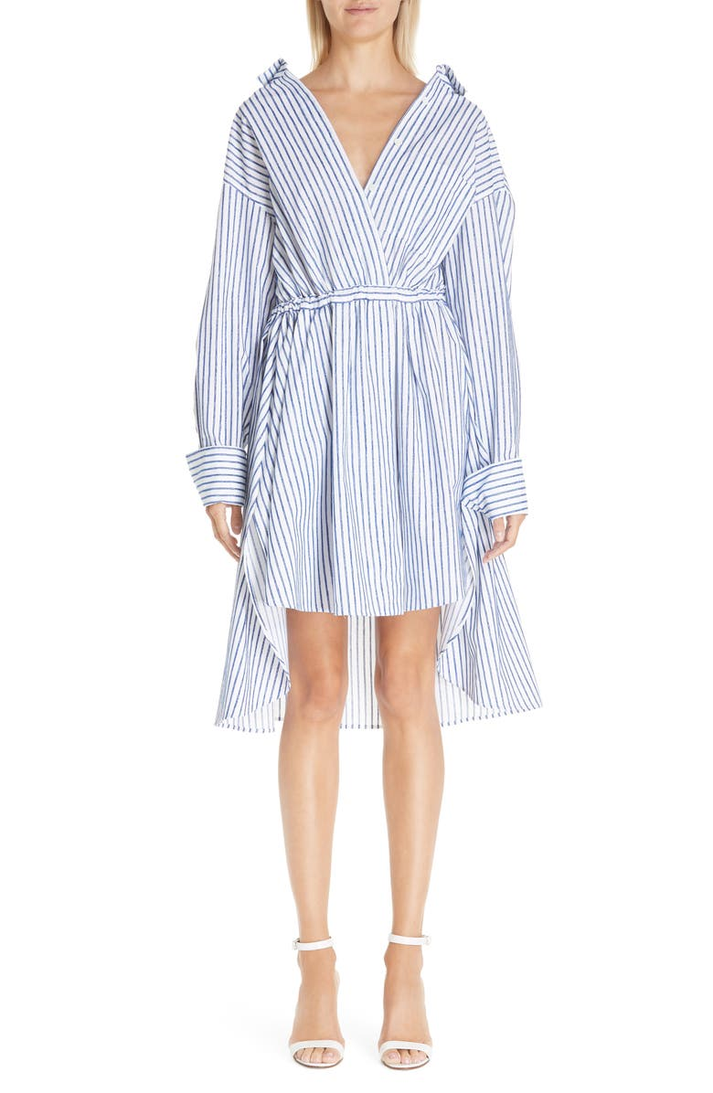BY ANY OTHER NAME Stripe High/Low Shirtdress, Main, color, BLUE/ WHITE