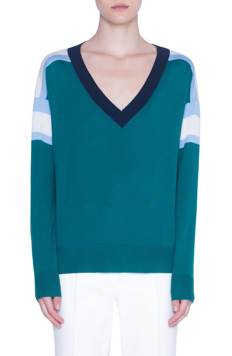 AKRIS PUNTO Stripe V-Neck Merino Wool Sweater, Main, color, 400