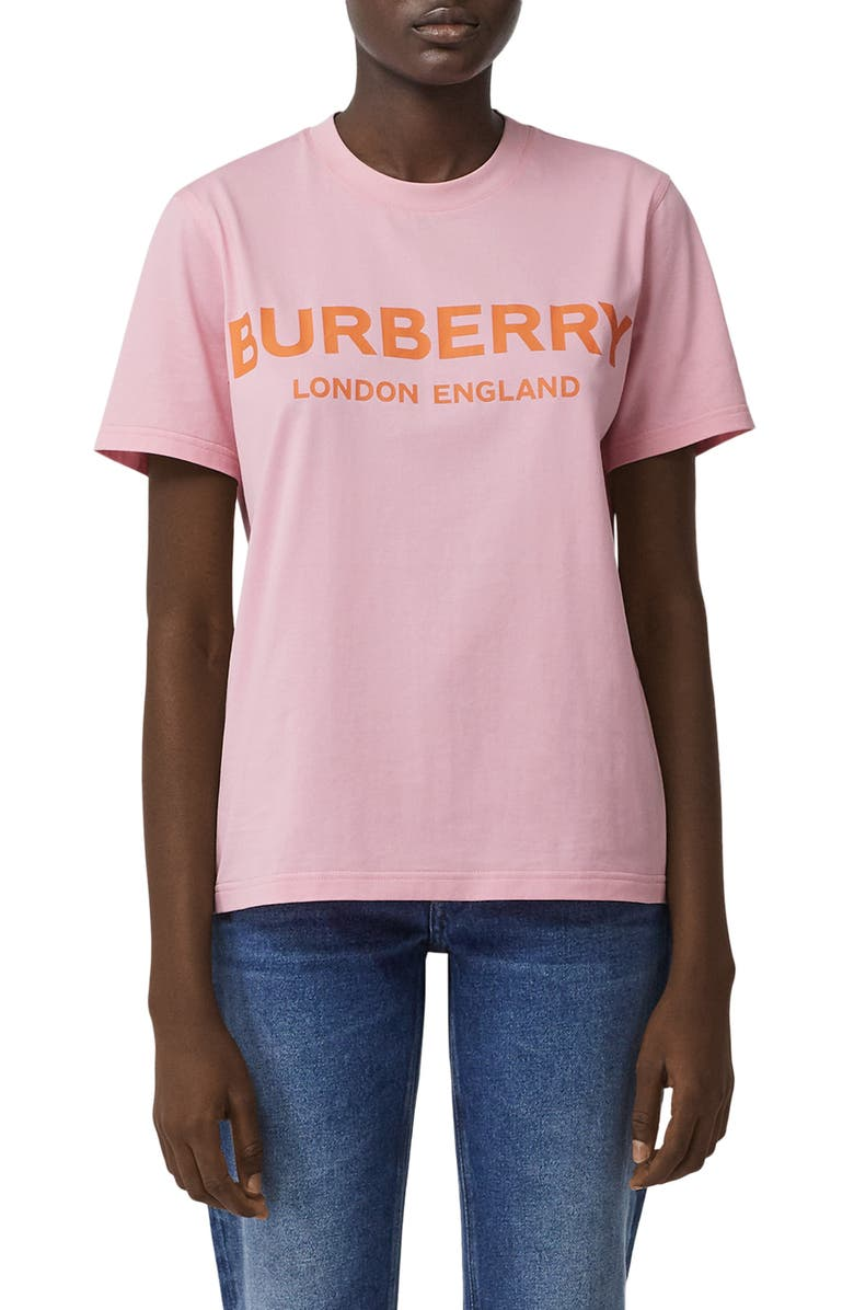 BURBERRY Dovey Logo Tee, Main, color, CANDY PINK