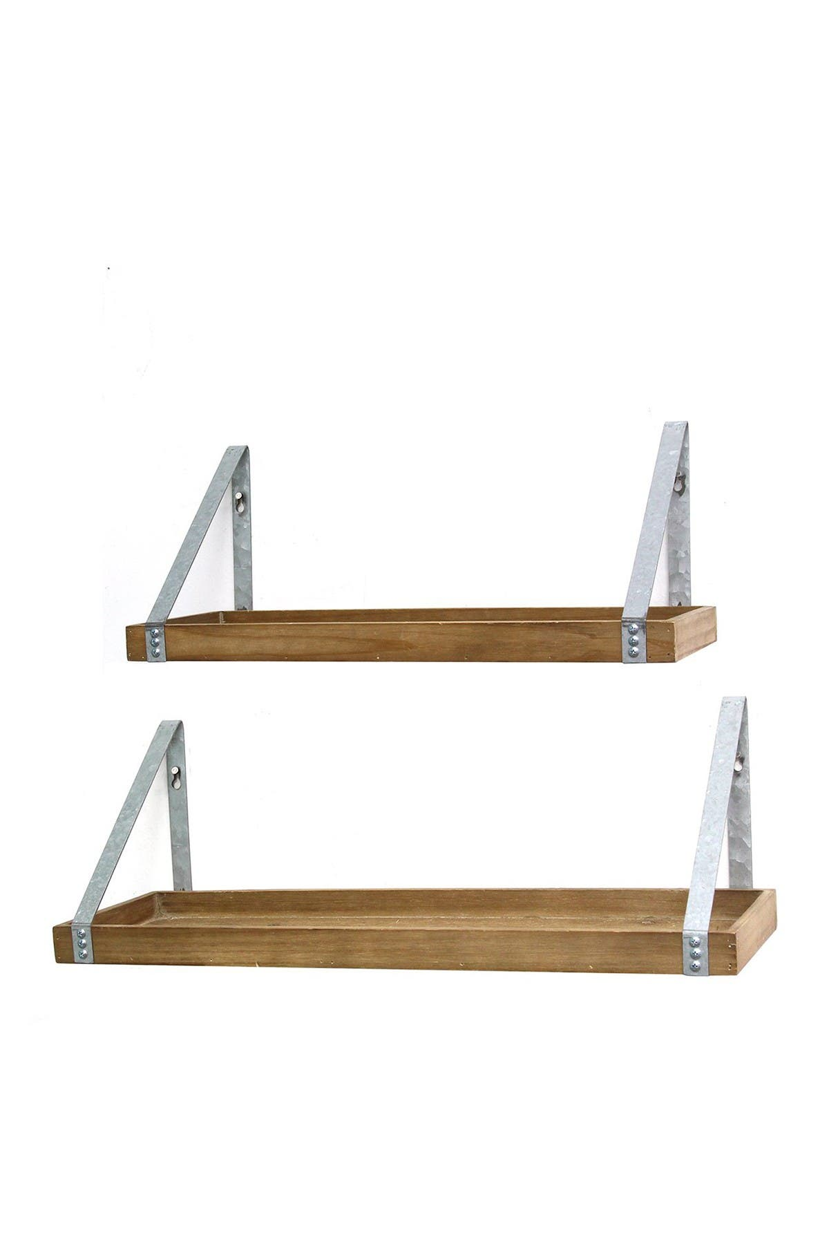 Image of Stratton Home Wood/Galvanized Metal Shelves - Set of 2