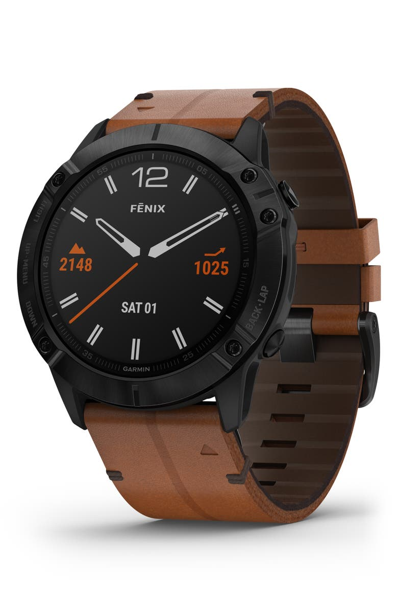 GARMIN fenix<sup>®</sup> 6X Sapphire DLC with Leather Band Premium Multisport GPS Watch, 51mm, Main, color, 200