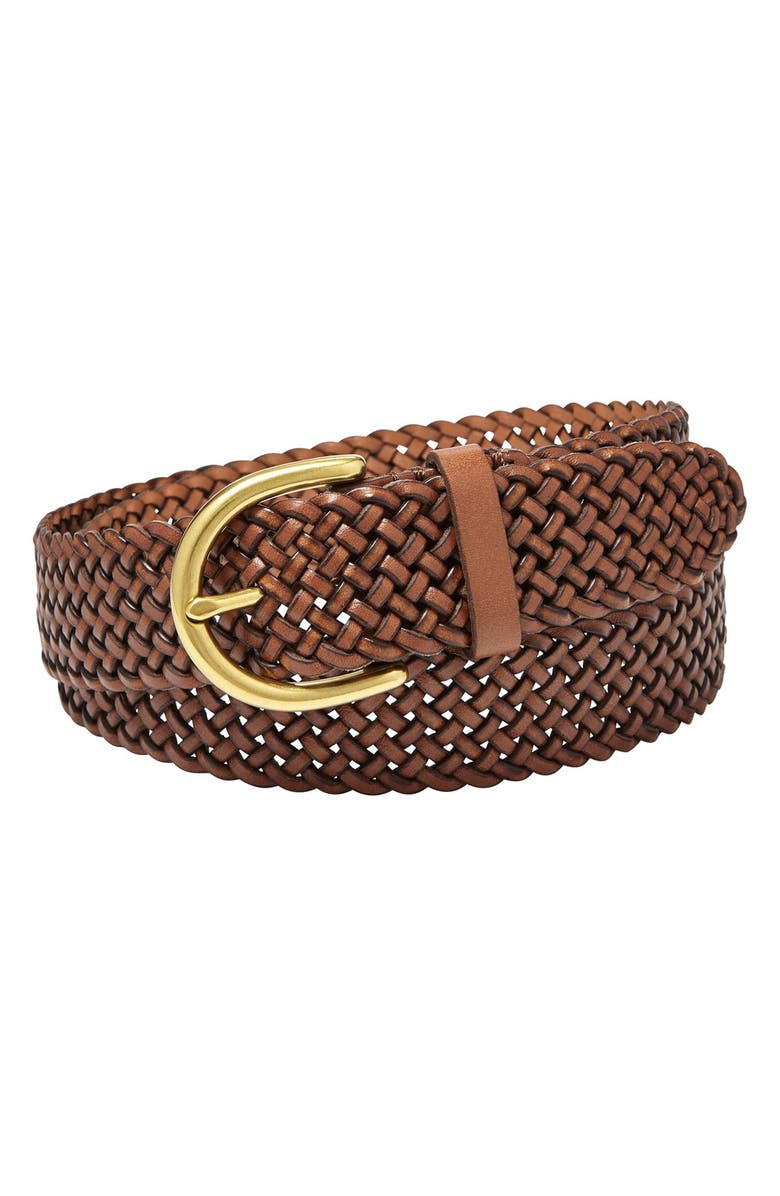 FOSSIL Woven Leather Belt, Main, color, 200