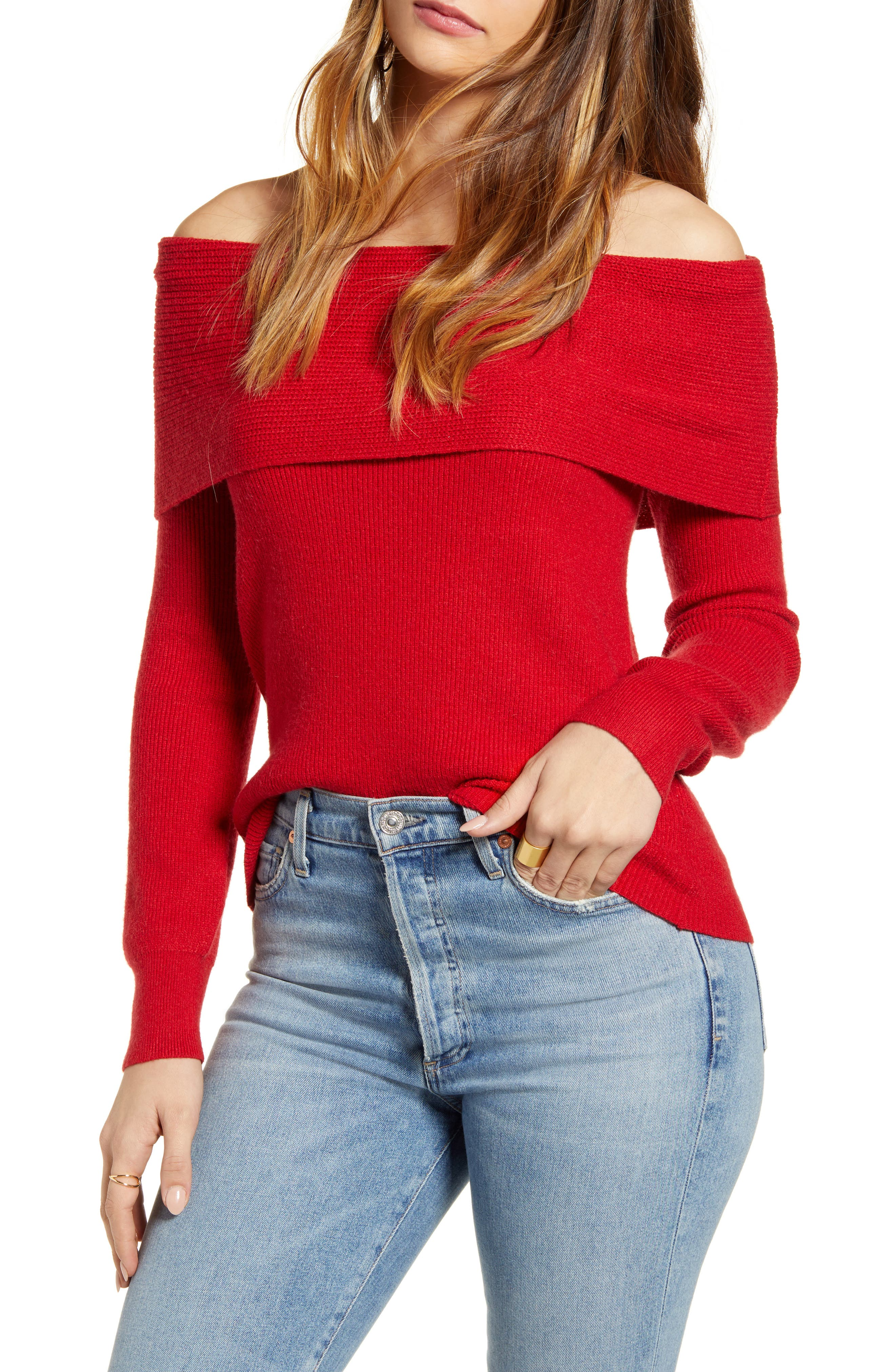 Show some shoulder in this cozy triblend sweater with a fold-over off-the-shoulder neckline. Style Name: Leith Off The Shoulder Sweater. Style Number: 5879095. Available in stores.