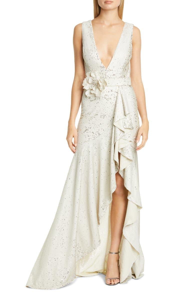 BADGLEY MISCHKA COLLECTION Badgley Mischka Sequin Ruffle Gown, Main, color, BEIGE