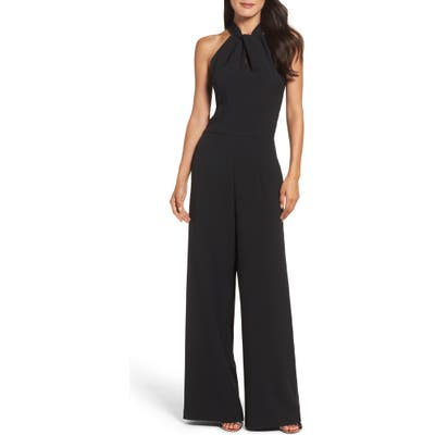 Julia Jordan Halter Wide Leg Jumpsuit, Black