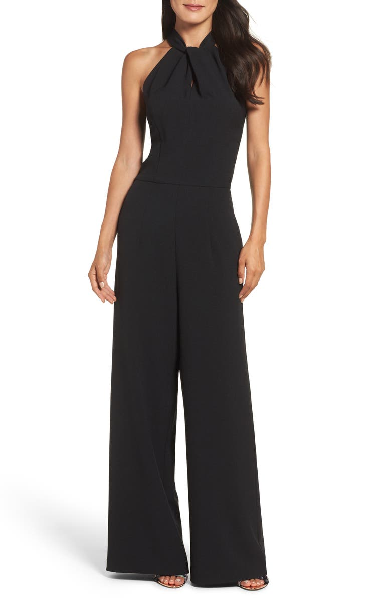 JULIA JORDAN Halter Wide Leg Jumpsuit, Main, color, BLACK