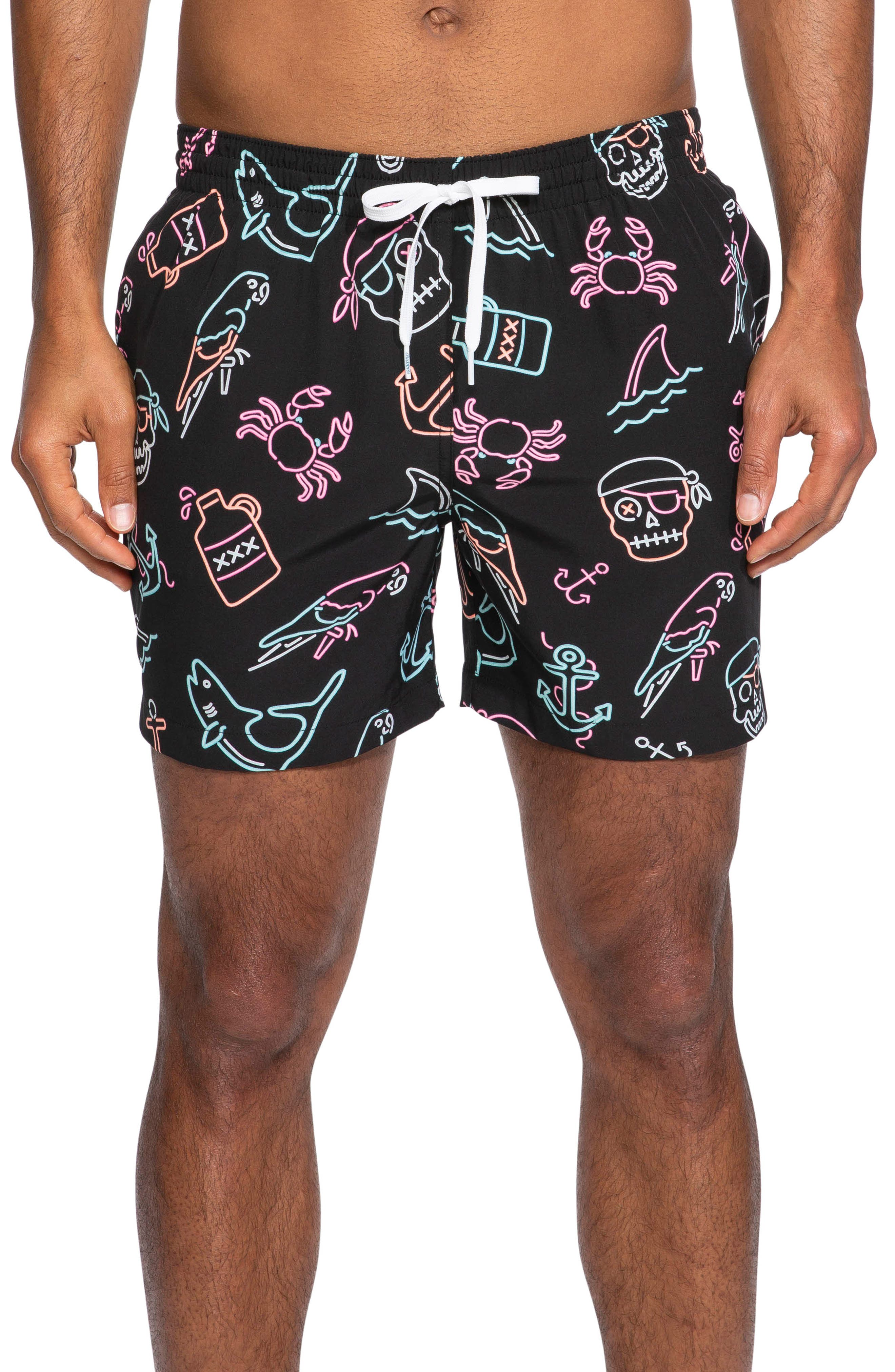 I'm the Captain Now Print Swim Trunks, Main, color, PIRATE PRINT