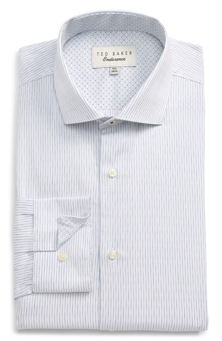 TED BAKER LONDON Slim Fit Stripe Dress Shirt, Main, color, WHITE