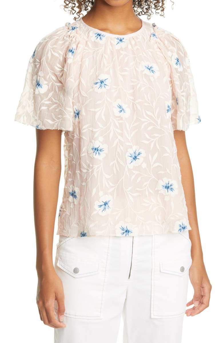REBECCA TAYLOR Trellis Embroidered Top, Main, color, PEACH COMBO