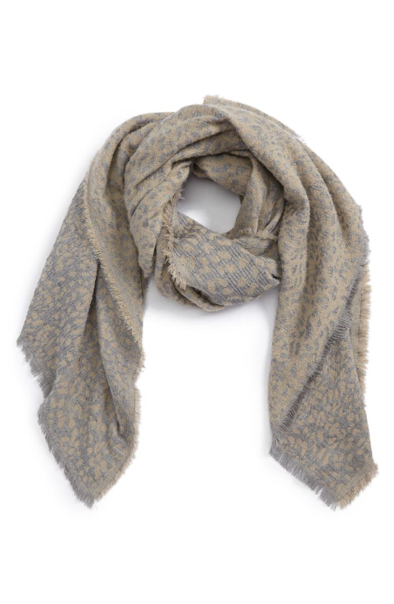 SOLE SOCIETY Leopard Pattern Scarf, Main, color, 250
