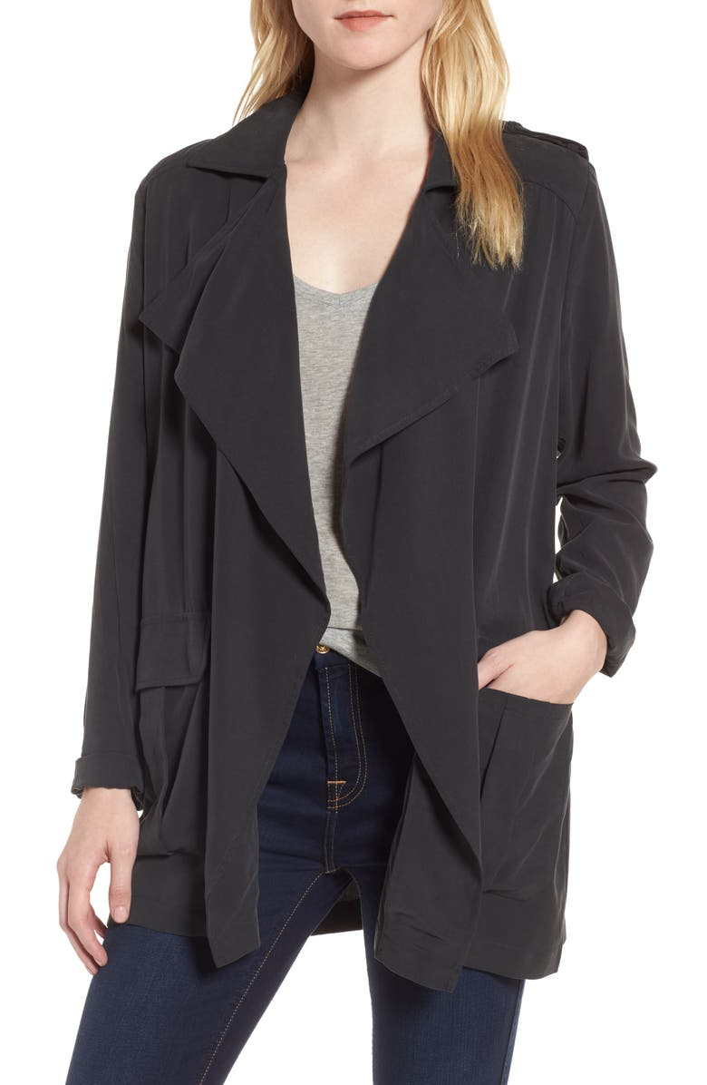 TROUVÉ Drape Front Military Jacket, Main, color, 001