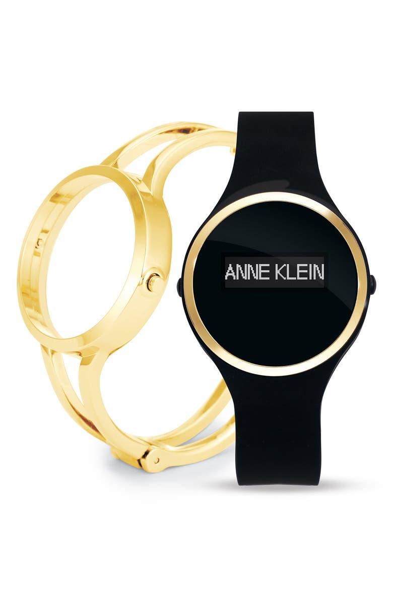 ANNE KLEIN 'Fashion Fit' Multifunction Smart Watch, 36mm, Main, color, BLACK/ GOLD