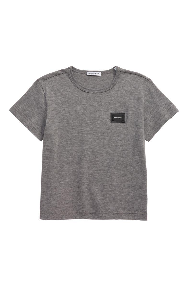 DOLCE&GABBANA Logo Patch T-Shirt, Main, color, GREY MELANGE