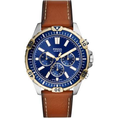 Fossil Garrett Chronograph Leather Strap Watch, 4m