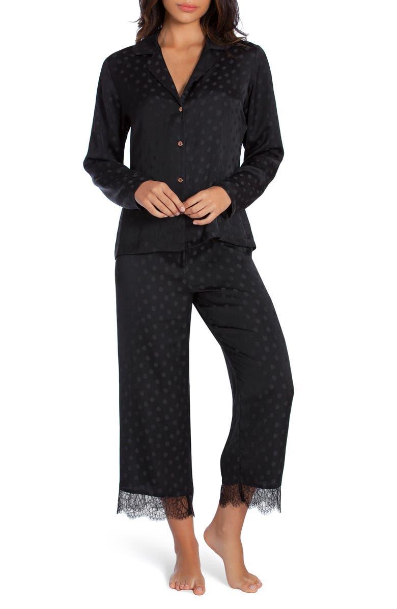 MIDNIGHT BAKERY Lace Trim Dot Satin Pajamas, Main, color, BLACK