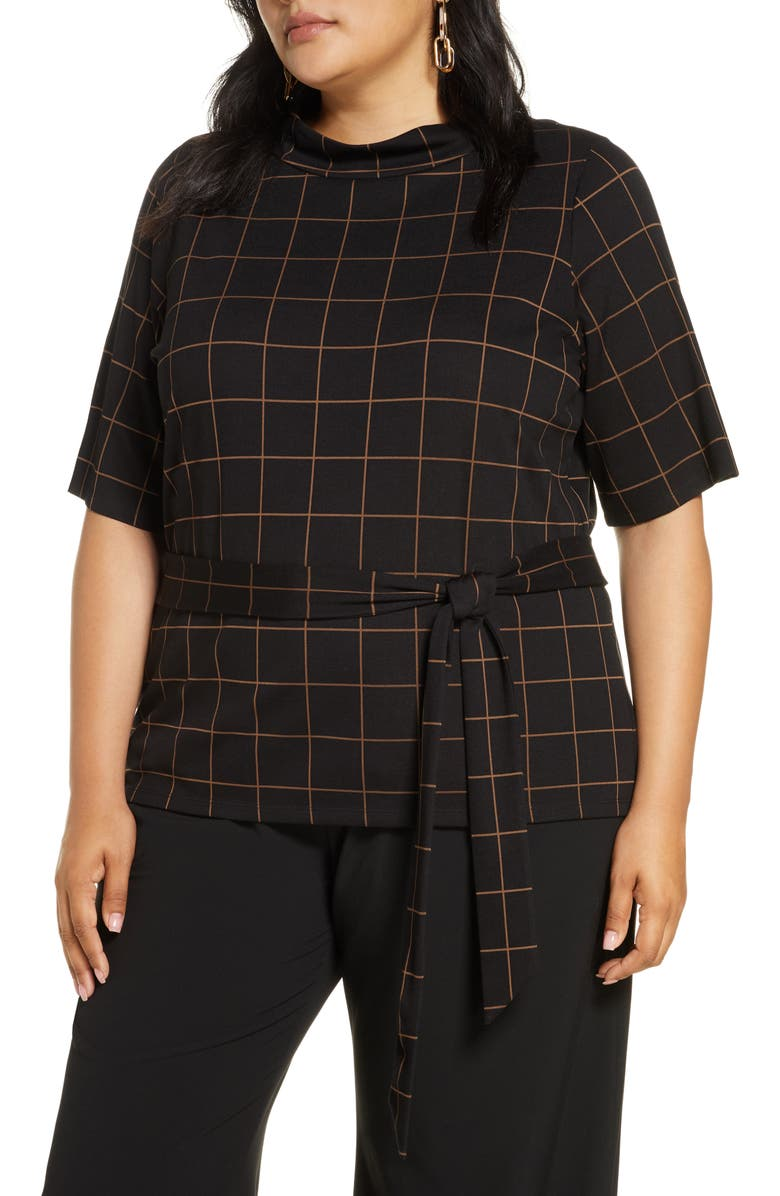 HALOGEN<SUP>®</SUP> Tie Waist Check Top, Main, color, BLACK WINDOWPANE