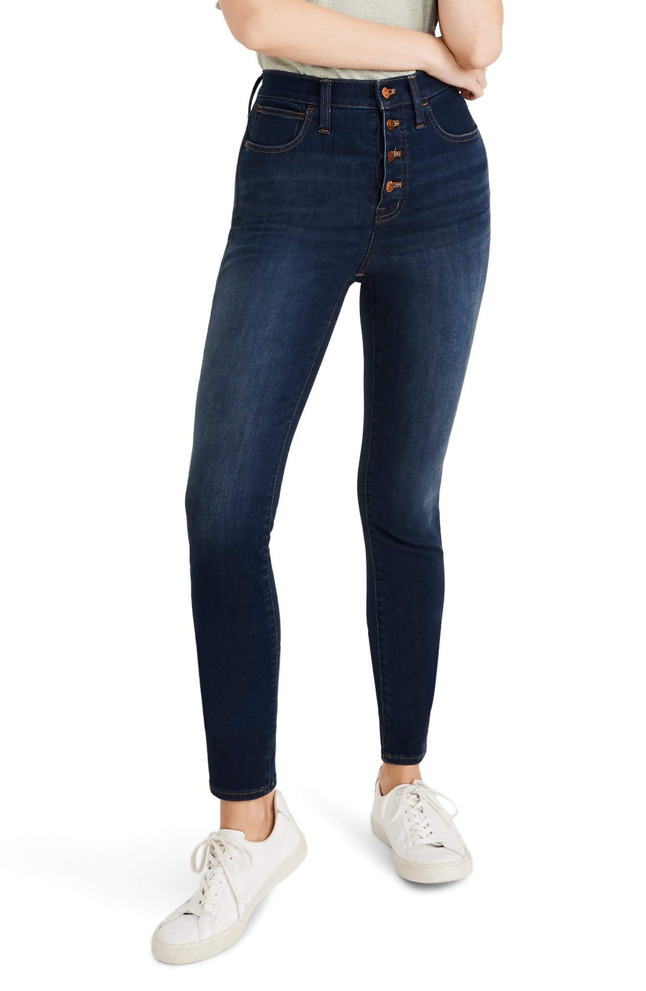 Madewell 10-Inch High Waist Skinny Jeans: Button Front Edition (Cassia) (Regular & Plus Size)