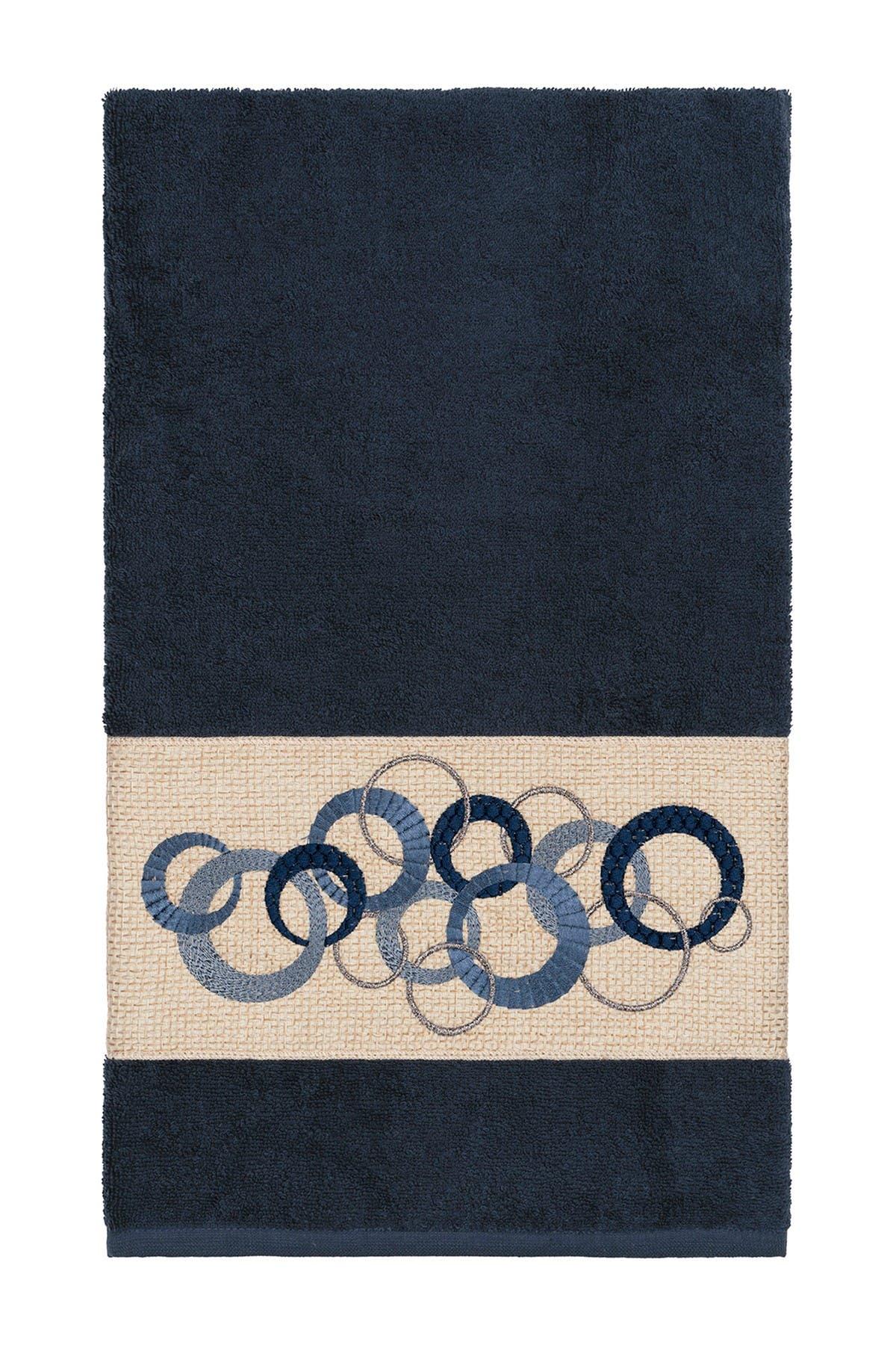 Image of LINUM HOME Annabelle Embellished Bath Towel - Midnight Blue
