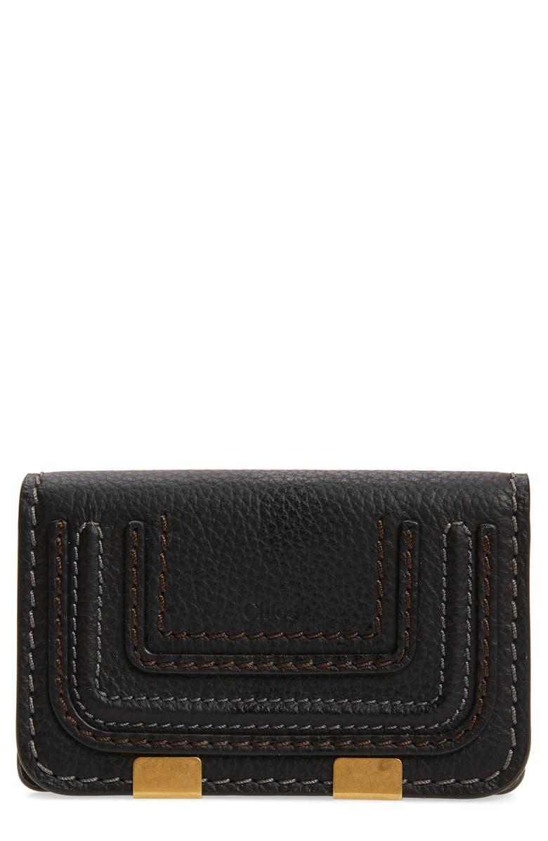 CHLOÉ Marci Leather Flap Card Holder, Main, color, BLACK