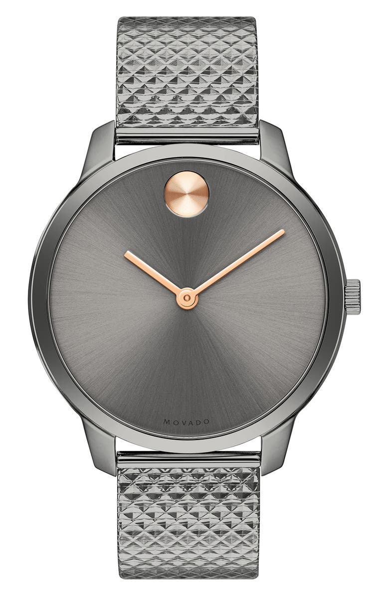 MOVADO Bold Mesh Strap Watch, 35mm, Main, color, GUNMETAL