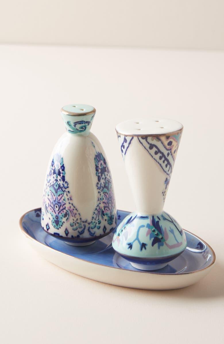 ANTHROPOLOGIE Lilia Salt & Pepper Shakers, Main, color, BLUE