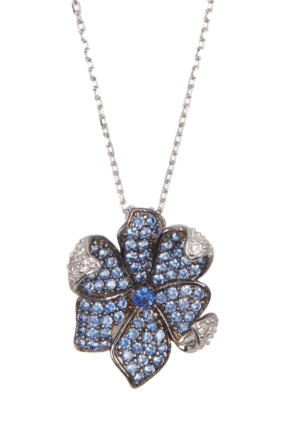 Image of Suzy Levian Sterling Silver Sapphire Flower Pendant Necklace