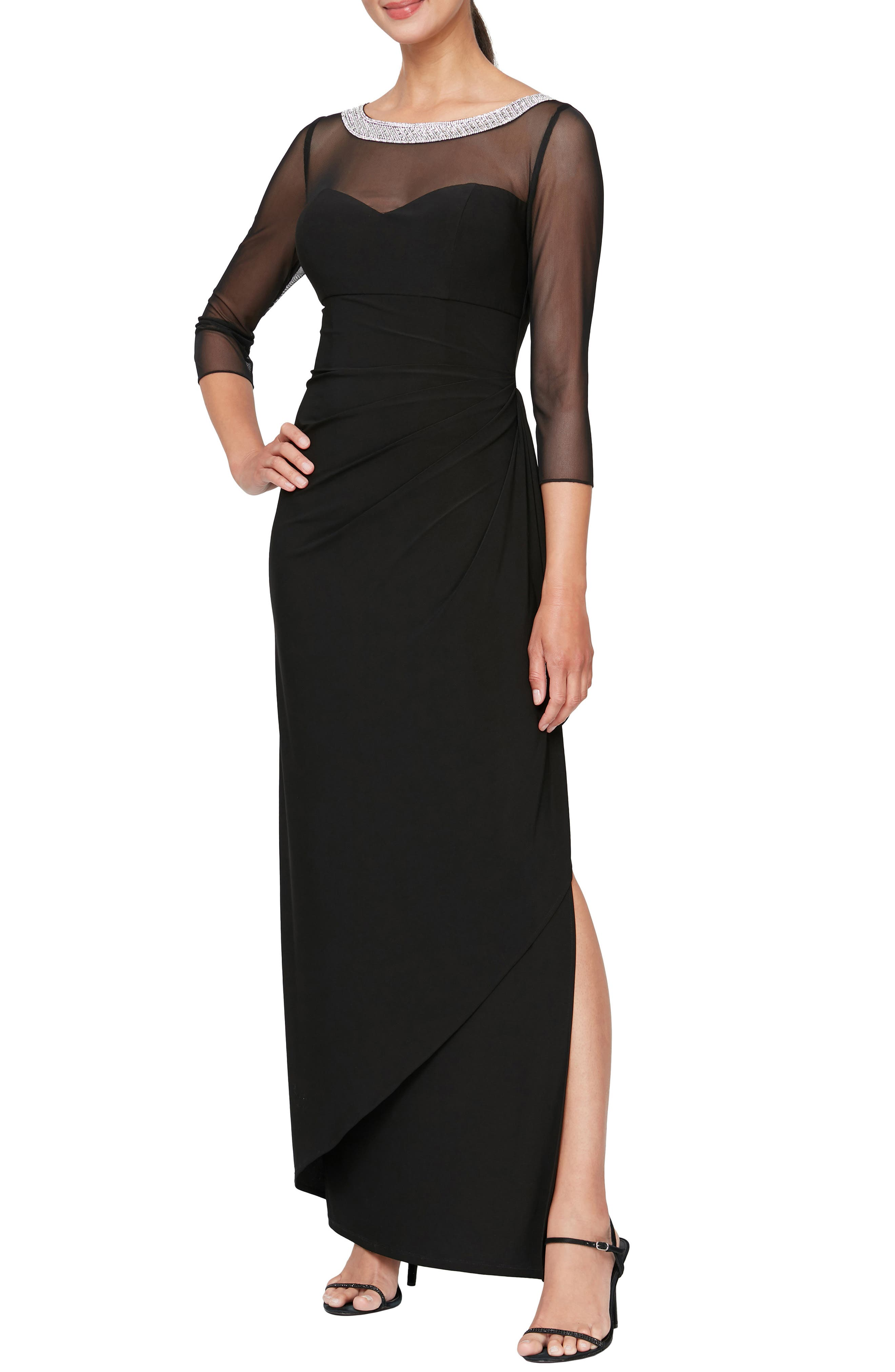 Illusion Embellished Detail Jersey Gown