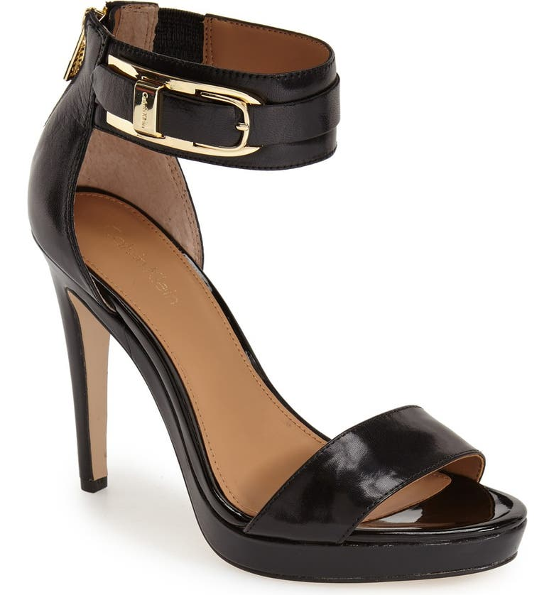 CALVIN KLEIN 'Panthea' Ankle Strap Sandal, Main, color, 001