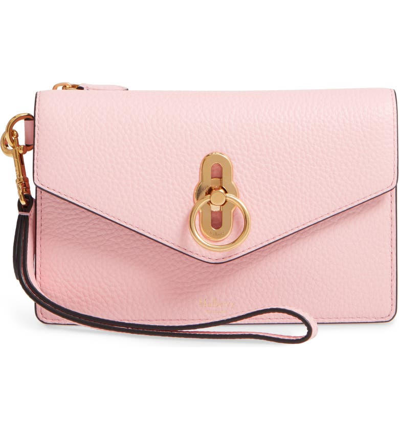 MULBERRY Amberley iPhone Leather Clutch, Main, color, SORBET PINK