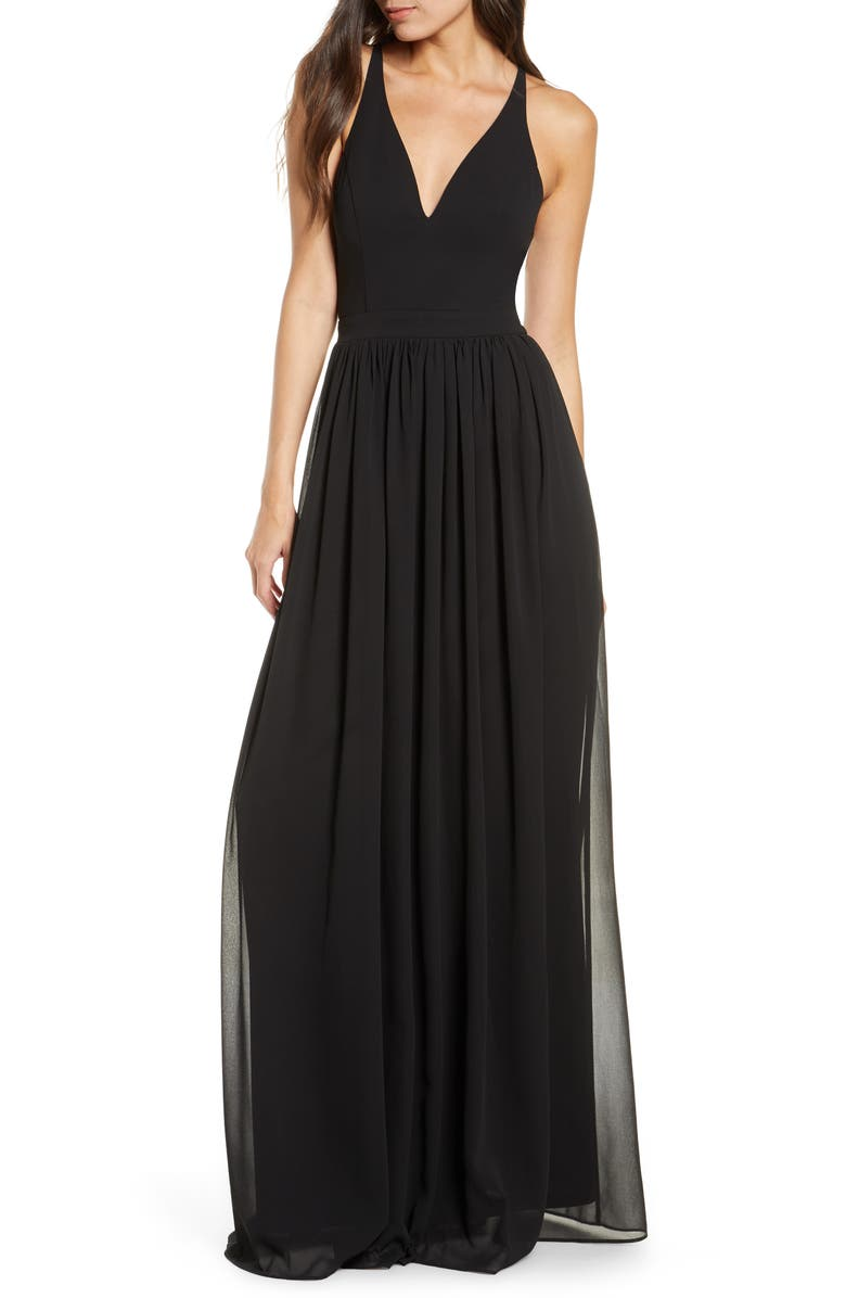 LULUS Everlasting Beauty Lace Back Chiffon Gown, Main, color, BLACK