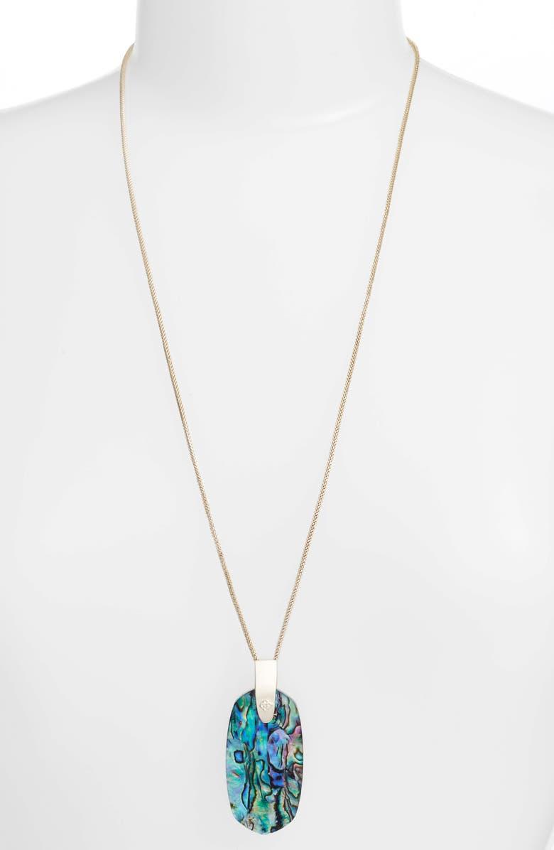 KENDRA SCOTT Inez Pendant Necklace, Main, color, ABALONE SHELL/ GOLD
