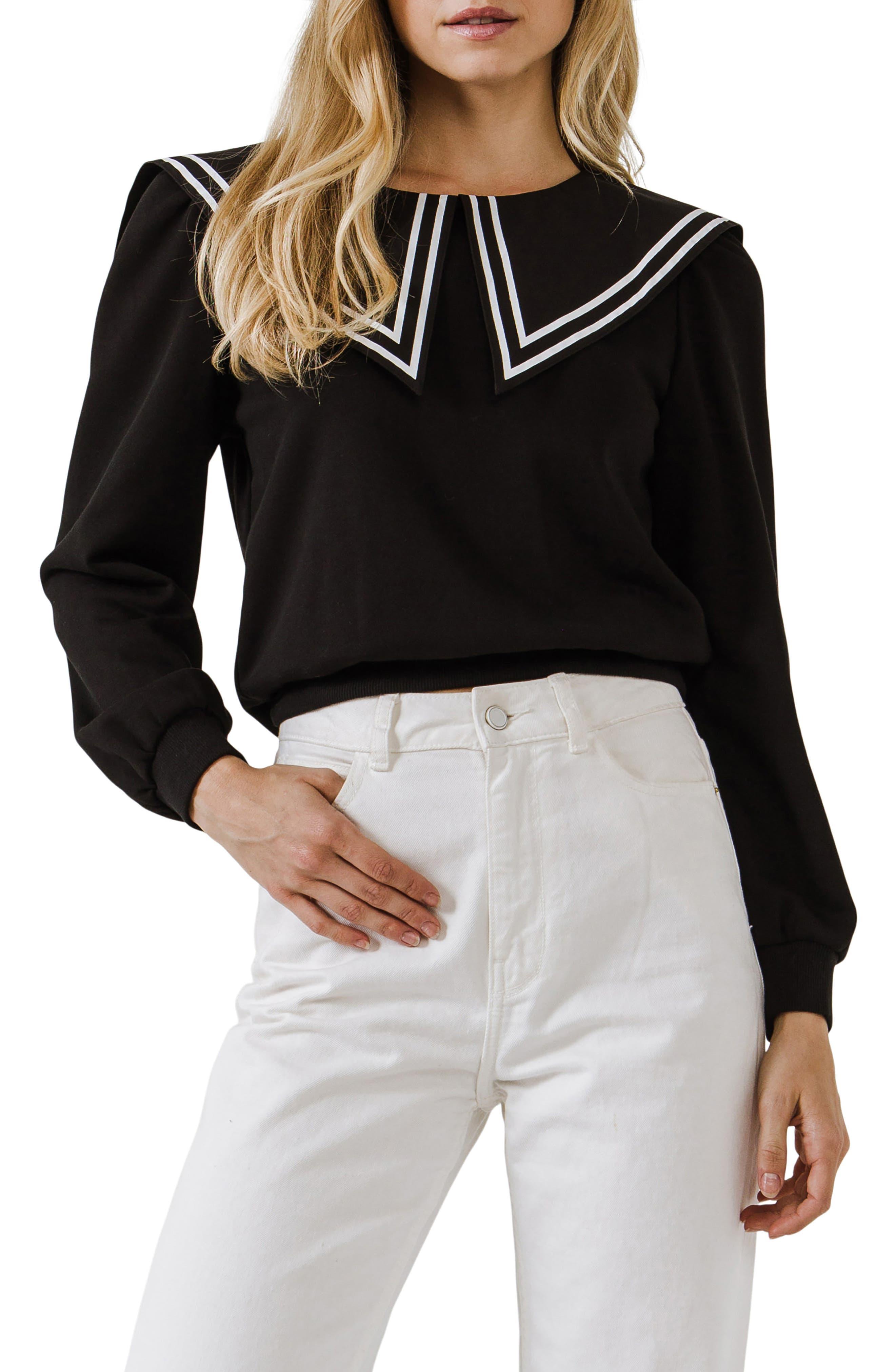 Edwardian Blouses |  Lace Blouses, Sweaters, Vests Womens English Factory Sailor Collar Cotton Sweatshirt Size Small - Black $80.00 AT vintagedancer.com