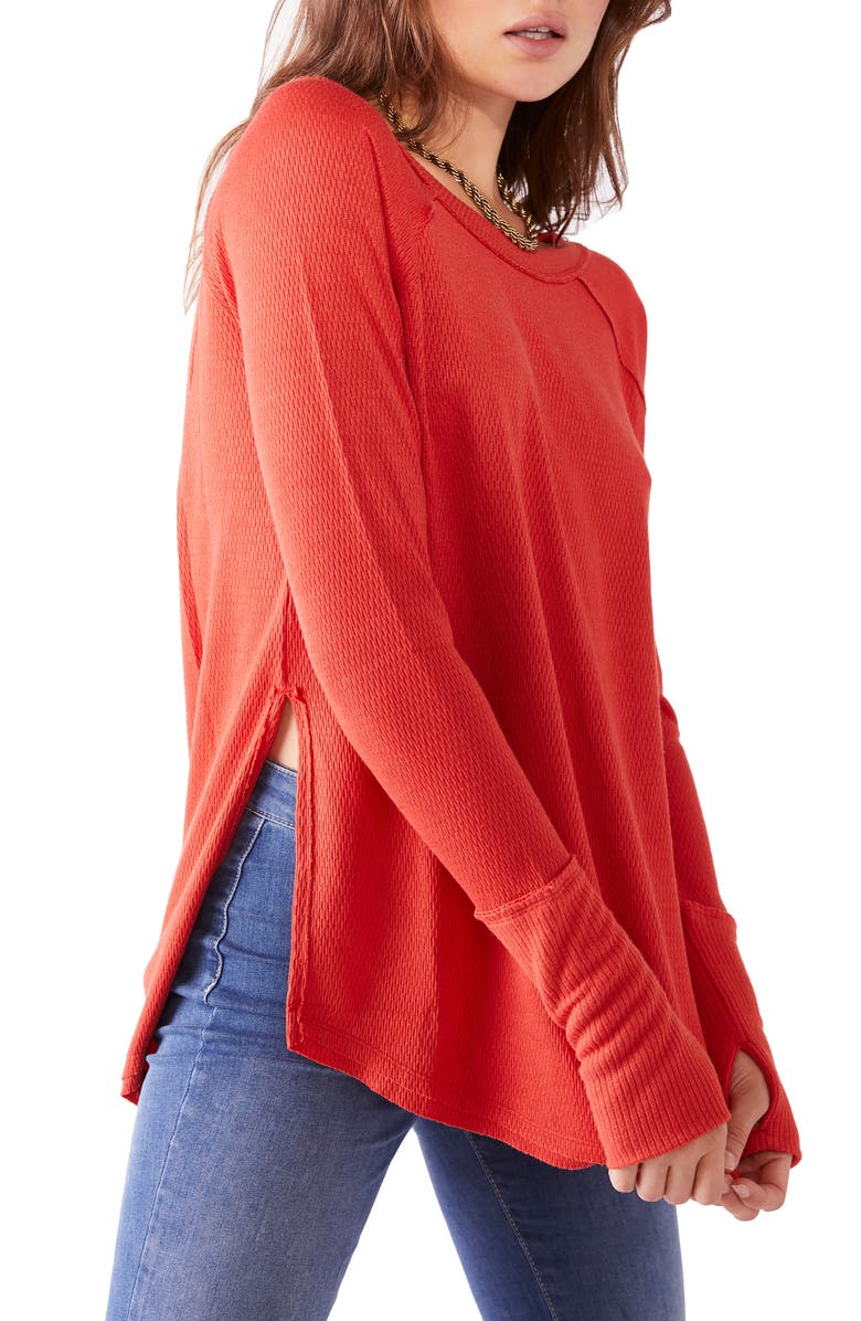 FREE PEOPLE Snowy Thermal Shirt, Main, color, HEATWAVE
