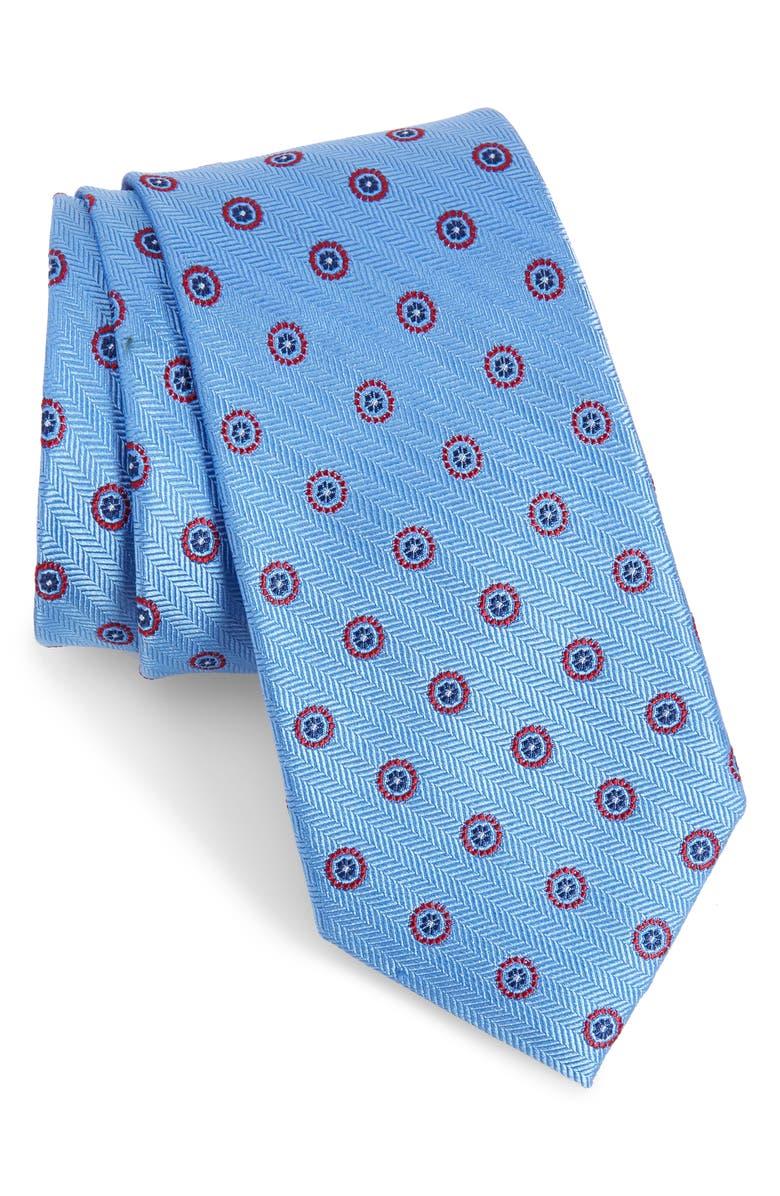 NORDSTROM MEN'S SHOP Anton Medallion Silk Tie, Main, color, LIGHT BLUE