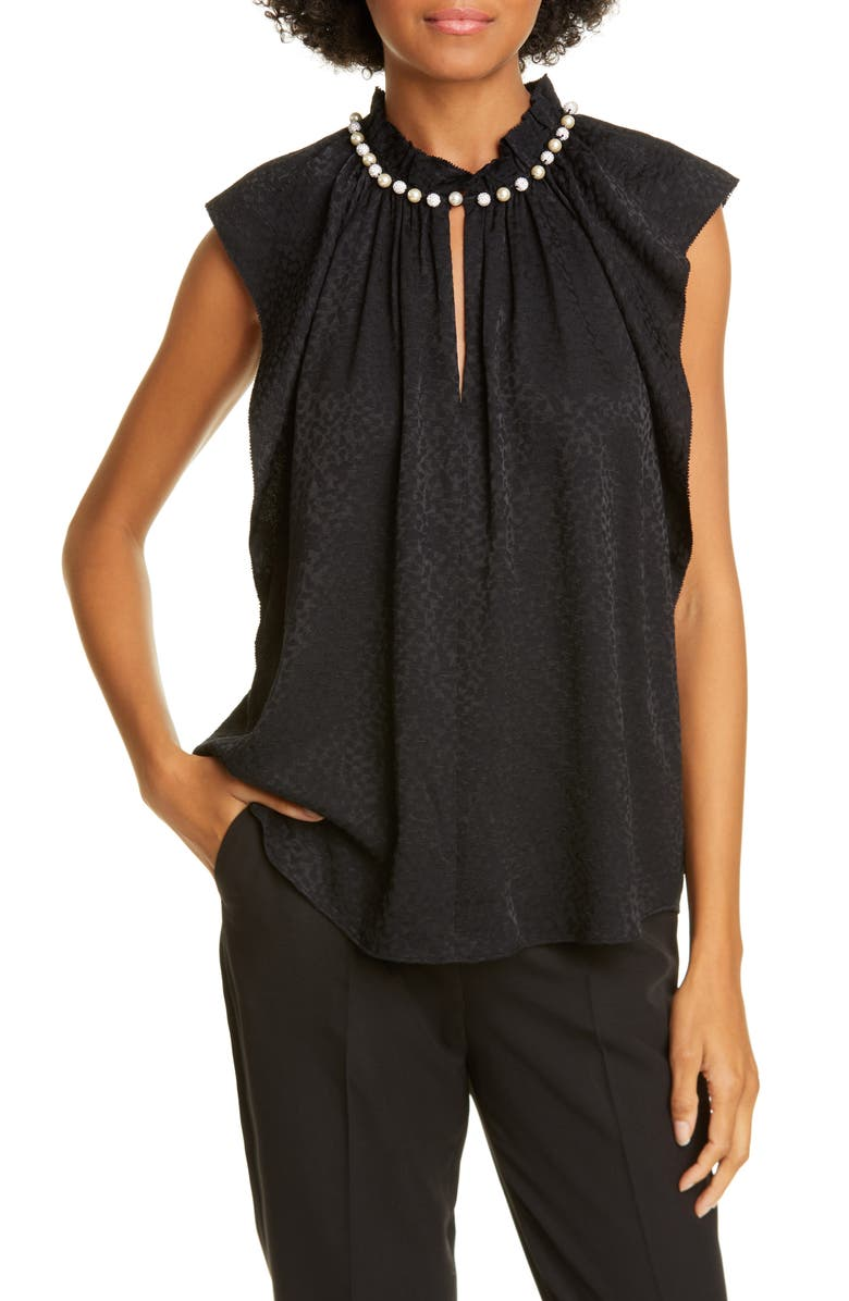 KATE SPADE NEW YORK imitation pearl detail sleeveless blouse, Main, color, BLACK