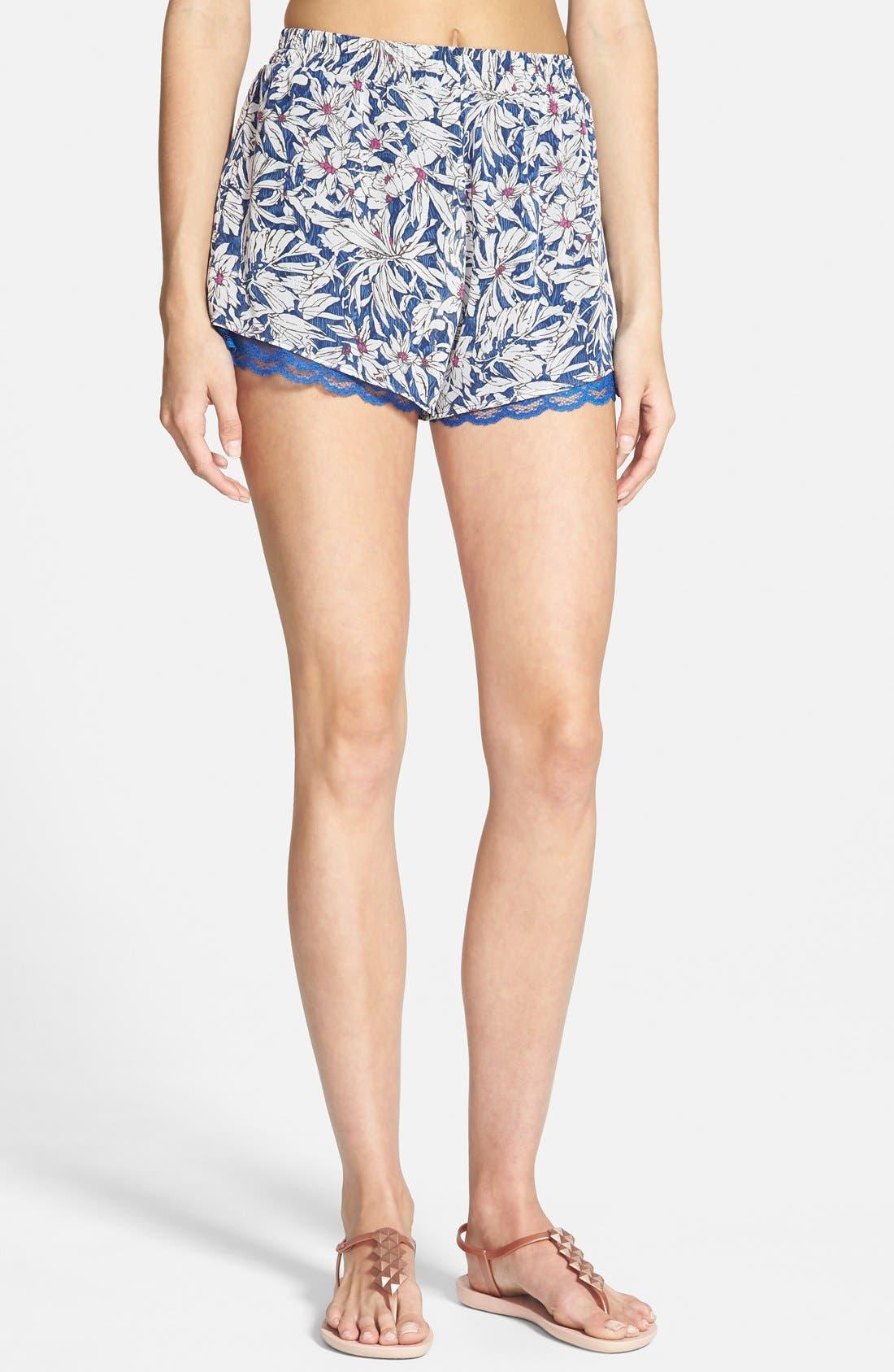 ,                             Lace Trim Floral Print Shorts,                             Main thumbnail 19, color,                             402