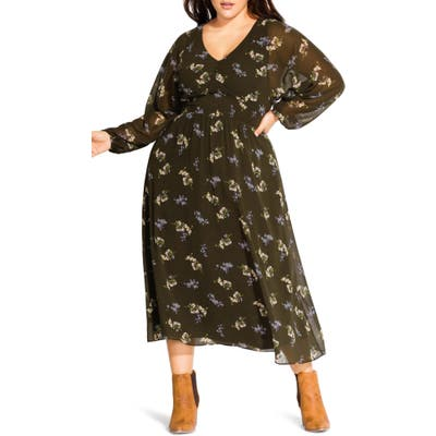 Plus Size City Chic Floral Print Long Sleeve Maxi Dress, Green