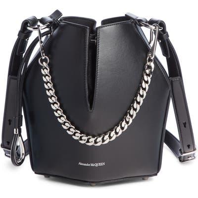 Alexander Mcqueen Small Leather Bucket Bag - Black