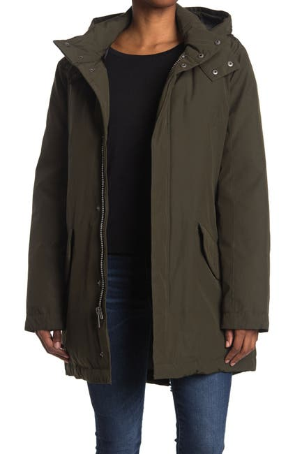 Image of Cole Haan Drawcord Hem Hooded Jacket