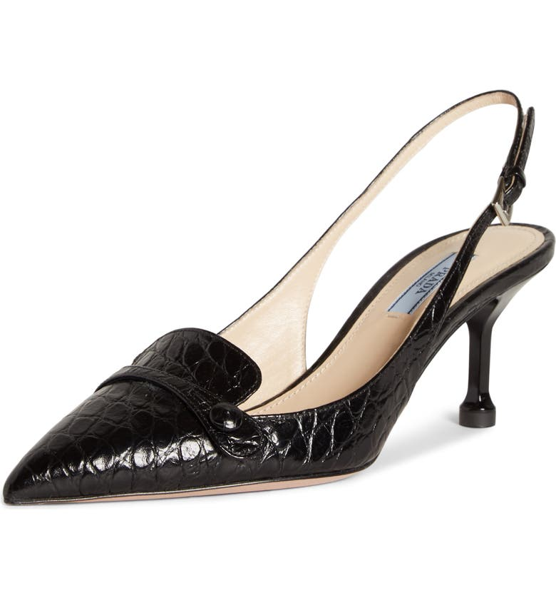 Prada Croc Embossed Slingback Pump Women