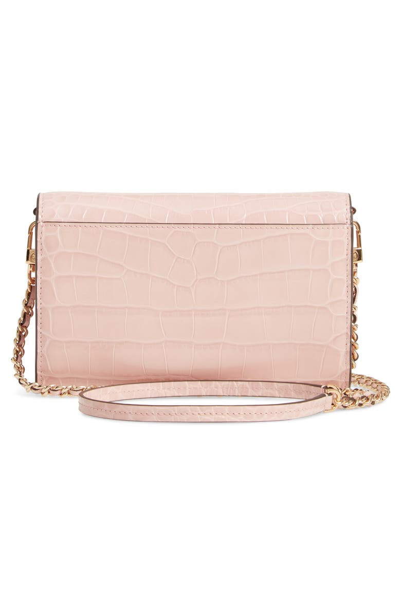 TORY BURCH Robinson Croc Embossed Leather Wallet on a Chain, Alternate, color, MINERAL PINK